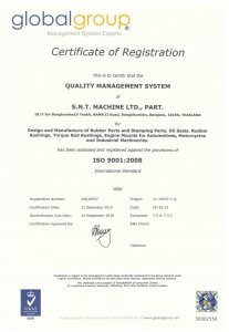 SNT AUTOPART Oil Seal ISO 9001:2008 Certification for Factory No. 1
